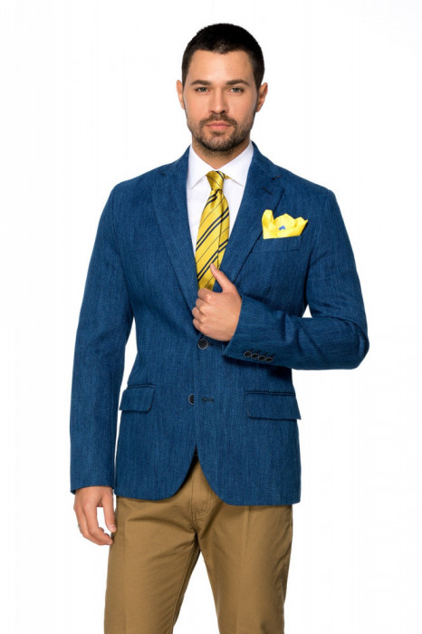 Sacou barbati slim albastru