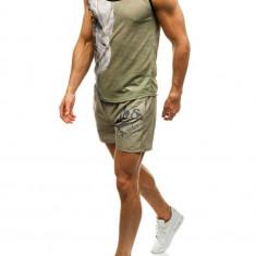 Set de plajă pentru bărbat: tricou de plajă+pantaloni scurți de înot verzi-bluemarin Bolf 2117