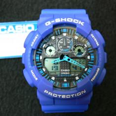 CEAS SPORT CASIO G-SHOCK GA-100 SKY BLUE-NOU-BACKLIGHT-CALITATE PESTE PRET