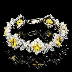 Bratara placata cu Aur 18K si Diamante, Alessandra Platinum & Yellow