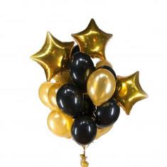 Buchet 13 baloane aniversare din latex Magic Star Black 12 inch