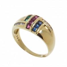 Inel aur galben 14 K, smaralde, rubine, safire si diamante, circumferinta 57 mm