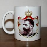 Cana porțelan cu Regele Carol I și Stema Regatului României