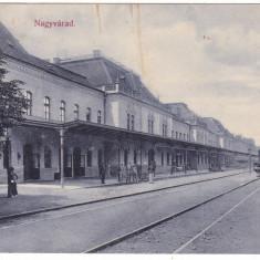 #Z.2291- Romania, Nagyvarad, Oradea c.p. circulata 1910: Gara interior, tren, Fotografie