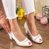 Pantofi cu toc dama albi MDL00864