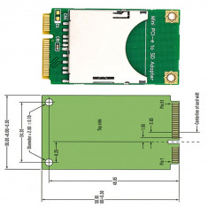 Adaptor Mini PCIe msata la SD SDXC Card