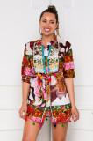 Cumpara ieftin Camasa Sandy lunga multicolora accesorizata cu margelute si ciucurasi