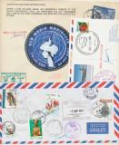 ROMANIA 2 plicuri & o carte postala exploratoare Uca Marinescu Pol Sud & Africa