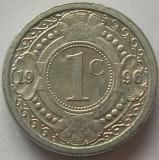 Moneda exotica 1 CENT - ANTILELE OLANDEZE (Caraibe), anul 1996 * cod 980, America Centrala si de Sud, Aluminiu
