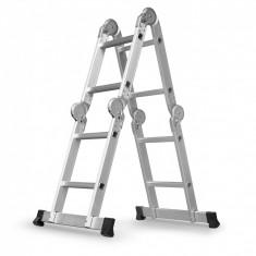 Scara multifunctionala din aluminiu, 4x2 trepte, cu platforma, 150kg