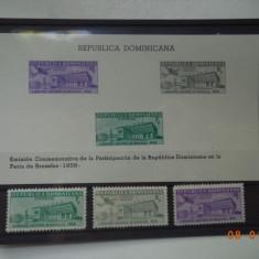 1958 R.Dominicana Mi 669-671 si Mi - bloc 20  Serie si colita**  Expo Bruxelles., Nestampilat