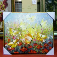 Tablou pictat manual pe panza in ulei Fluturi A-266, Natura, Realism