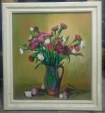 Vaza cu flori// ulei pe carton, nesemnat