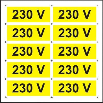 Indicator 230V (10 etichete pe coala) - Semn Protectia Muncii foto
