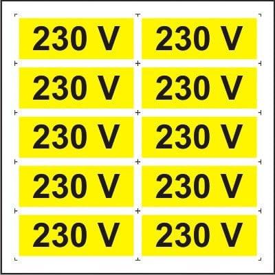 Indicator 230V (10 etichete pe coala) - Semn Protectia Muncii