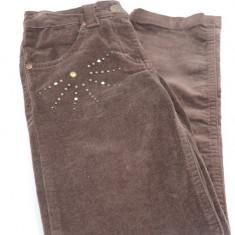 Pantaloni din catifea pentru fete-Wenice AN250888-2, Maro