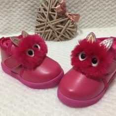 Bocanci ghete cizme roz imblanite cu ochisori si urechi fete 23 24