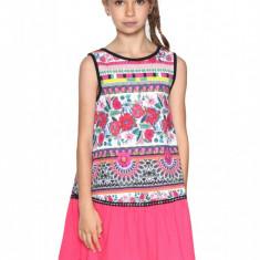 Rochie fete, dreapta, terminatie cu pliuri Monrovia, Desigual, Marimea 9-10 ani, Multicolor