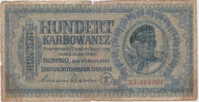 Ucraina 100 karbowanez 1942 UZATA foto