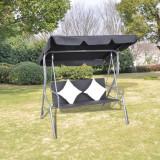 Balansoar din ratan cu acoperiș, Negru
