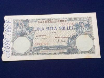 Bancnote România - 100000 lei 28 mai 1946 - seria 0143423 (starea care se vede) foto