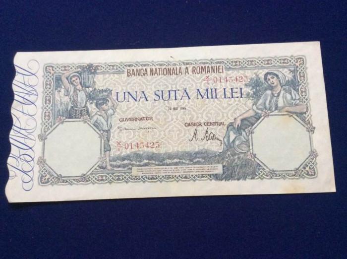 Bancnote România - 100000 lei 28 mai 1946 - seria 0143423 (starea care se vede)
