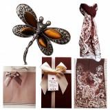 Pachet  cadou Valentine s Day, brosa libelula cu pietre ochi de tigru si esarfa, Cadouri pentru femei, Cadouri Valentine`s Day