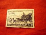 Serie Algeria colonie franceza 1952 Ziua Timbrului - Diligenta ,supratipar Alger, Nestampilat