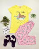Pijama dama ieftina bumbac cu pantaloni lungi roz si tricou galben cu imprimeu Ursulet Sleep Time