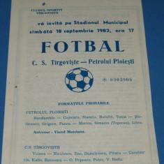 Program meci fotbal CS TARGOVISTE - PETROLUL Ploiesti (18.09.1982)
