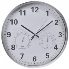 Ceas de perete, model cu termometru si umiditate, 36 cm, alb