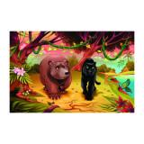 Cumpara ieftin Sticker decorativ camera copii, 150 x 100 cm urs si pantera neagra