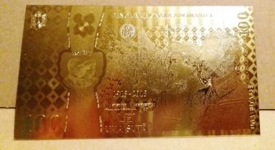 Bancnota 100 LEI Unire Centenar aur 24k gold certificat 2018 UNC colectie foto