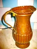 7935-Cana bronz-cupru antica maner alama gravata si manual executata.