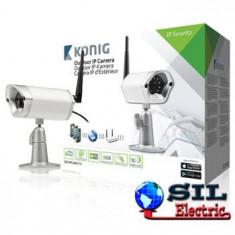 Camera supraveghere video IP de exterior, argintie, konig