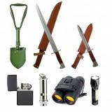 Kit camping 2 Baionete, Lopata Militara, Lanterna, Binoclu, Fluier si Bricheta