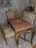 masa cu 4 scaune frantuzesti antice, stil Ludovic XV/baroc/vintage, inceput 1900