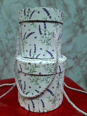 Set 2 cutii aranjamente trandafiri de săpun,rotunde   14 cm / h 13 cm foto