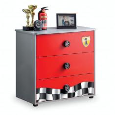Comoda din pal cu 3 sertare, pentru copii Race Cup Red / Light Blue, l76xA42xH74 cm