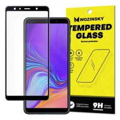 Folie Sticla Wozinsky Super Tough pentru Samsung Galaxy A7 2018 5D Full Cover acopera tot ecranul Full Glue Negru