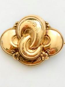 BIEDERMEIER 1880 Brosa -Pandantiv Schaumgold