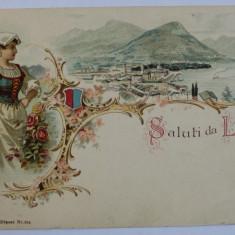 SALUTI DA LUGANO , CARTE POSTALA ILUSTRATA , CROMOLITOGRAFIE , POLICROMA , CIRCULATA , CLASICA , DATATA 1901