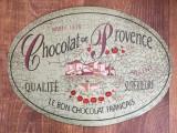 Reclama tabla vintage Chocolat de Provence Paris 1878, 32x23cm de perete, decor