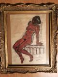 Cumpara ieftin Tablou vechi, Nud, tehnica mixta, semnat Apostu 1971, rama cu sticla, 24x30 cm, Acuarela, Impresionism