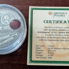NIUE - 1 Dolar 2008 - Kaliningrad - Argint + Chihlimbar - in capsula +certificat