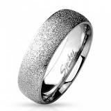 Inel-verighetă din oțel chirurgical cu suprafață sablată, culoare argintie, 6 mm - Marime inel: 67