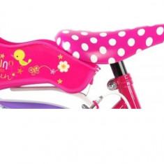 Bicicleta Volare pentru fete 14 inch cu scaun pentru papusi roti ajutatoare cosulet si doua frane de mana Minnie Mouse