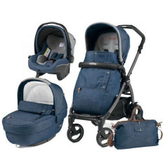 Carucior 3 In 1, Peg Perego, Book Plus S, Black, Completo Elite, Urban Denim