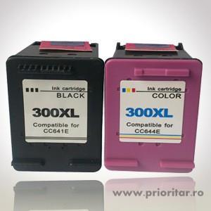 Pachet Cartus NEGRU HP300XL ( CC640EE / CC641EE ) + Cartus COLOR HP300XL (...