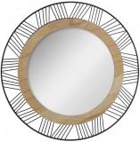 Oglinda moderna, decorativa, de perete, lemn si metal, negru, diametru 45cm